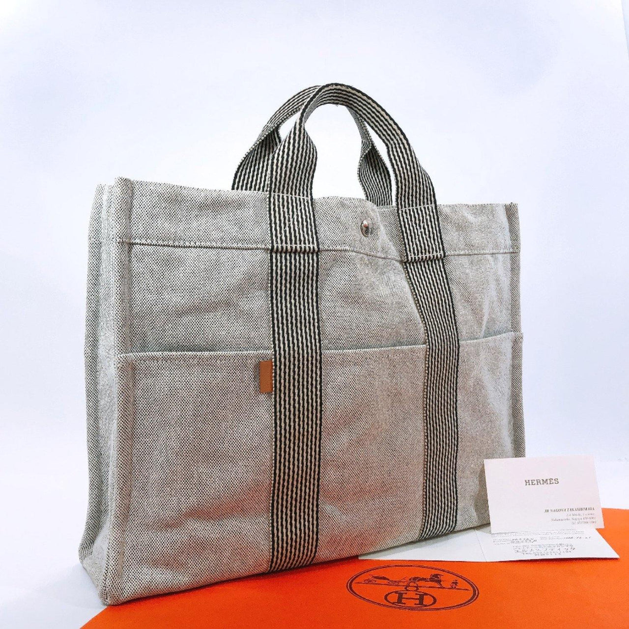 HERMES Tote Bag New fool toe MM canvas gray SilverHardware Women Used - JP-BRANDS.com