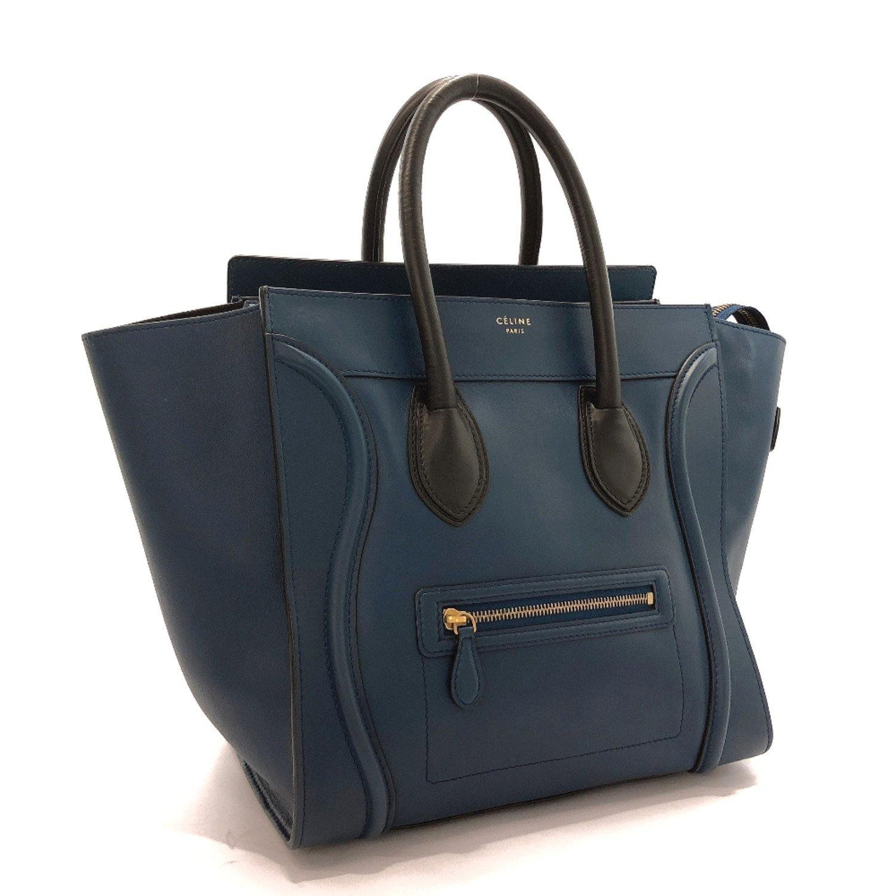 CELINE Handbag F-AT-0143 Luggage Mini shopper leather blue Women Used - JP-BRANDS.com