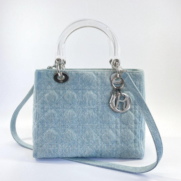Christian Dior Shoulder Bag MA-1928 Lady Dior Canage 2way denim blue Women Used