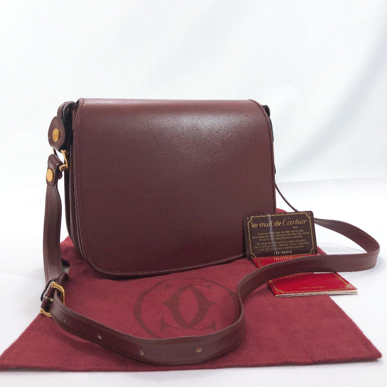 CARTIER Shoulder Bag Must Line vintage leather wine-red Women Used - JP-BRANDS.com