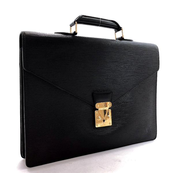 LOUIS VUITTON Business bag M54412 Cerviet ambassador Epi Leather black Gold Hardware mens Used