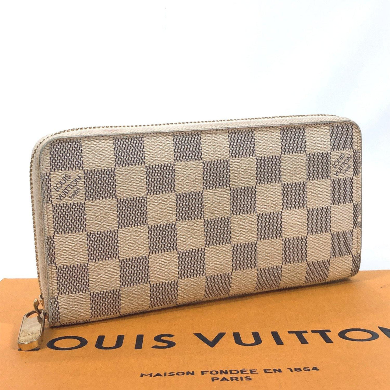 LOUIS VUITTON purse N60019 Zippy wallet Damier Azur Canvas white unisex Used - JP-BRANDS.com
