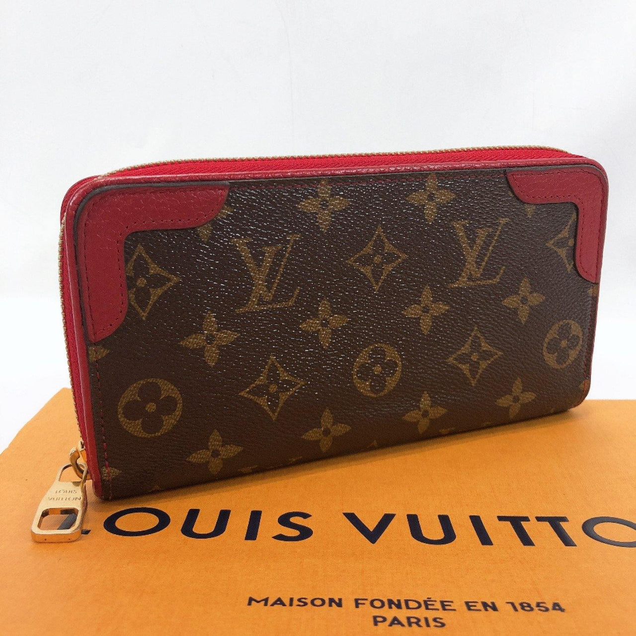 LOUIS VUITTON purse M61854 Zippy Wallet Retiro Monogram canvas Brown Red Women Used