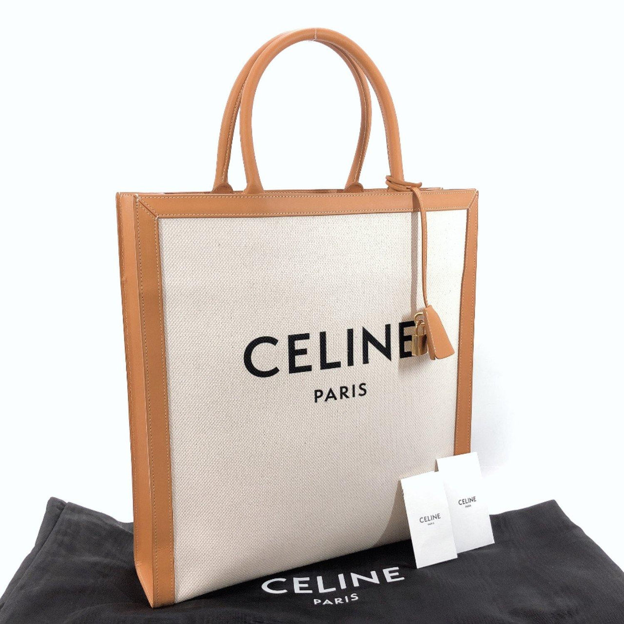 CELINE Tote Bag 190402BNZ.02NT Vertical Hippo leather/cotton Camel mens Used - JP-BRANDS.com