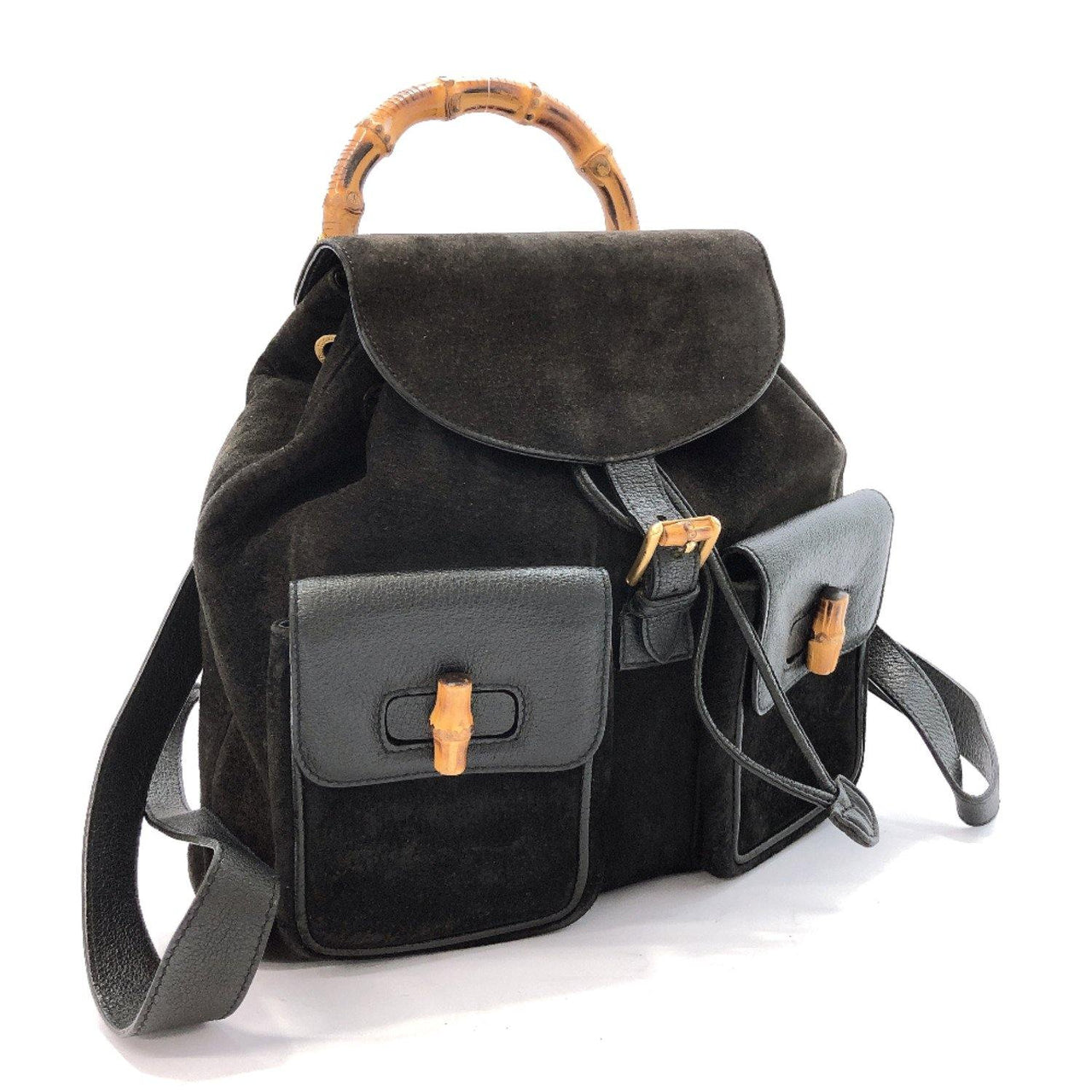 GUCCI Backpack Daypack Bamboo Suede black Women Used - JP-BRANDS.com