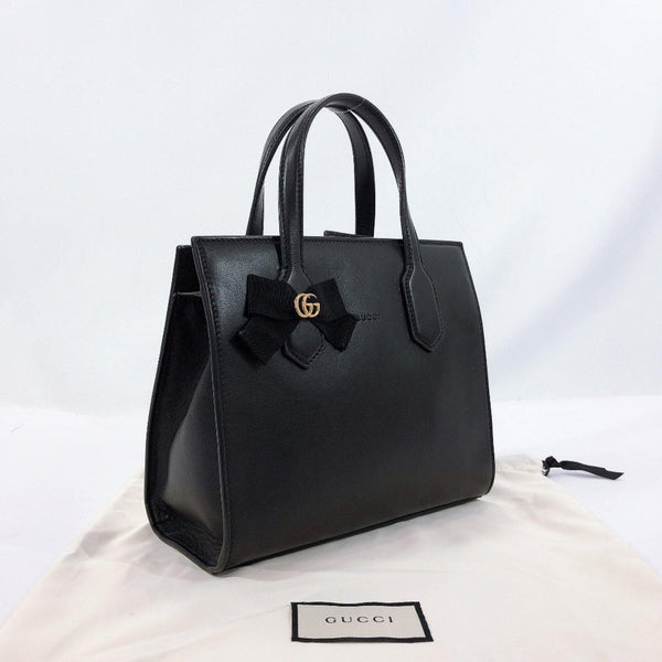 GUCCI Handbag 443089 Double G GG RIBBON Japan limited model leather black Women Used