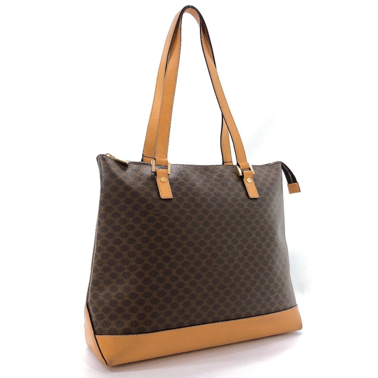 CELINE Tote Bag Macadam pattern PVC/leather Brown Women Used