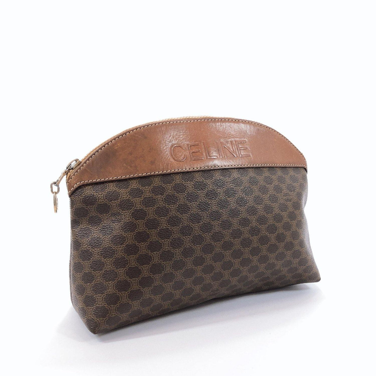 CELINE Pouch M06 Cosmetics Pouch Macadam pattern vintage PVC/leather Brown Women Used - JP-BRANDS.com