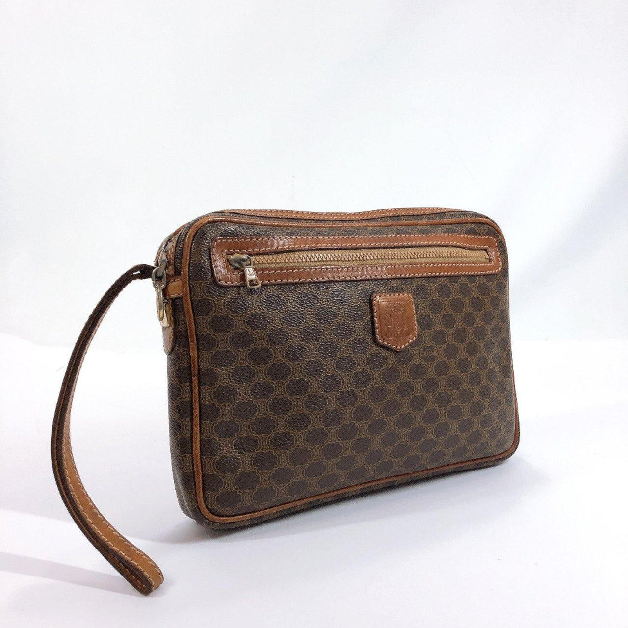 CELINE Clutch bag M07 Macadam pattern vintage PVC/Leather Brown unisex Used - JP-BRANDS.com