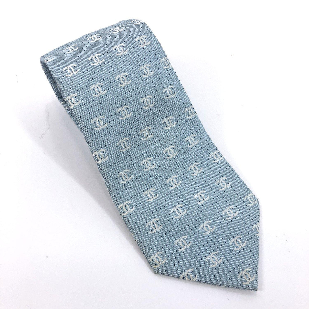 CHANEL tie silk blue mens Used