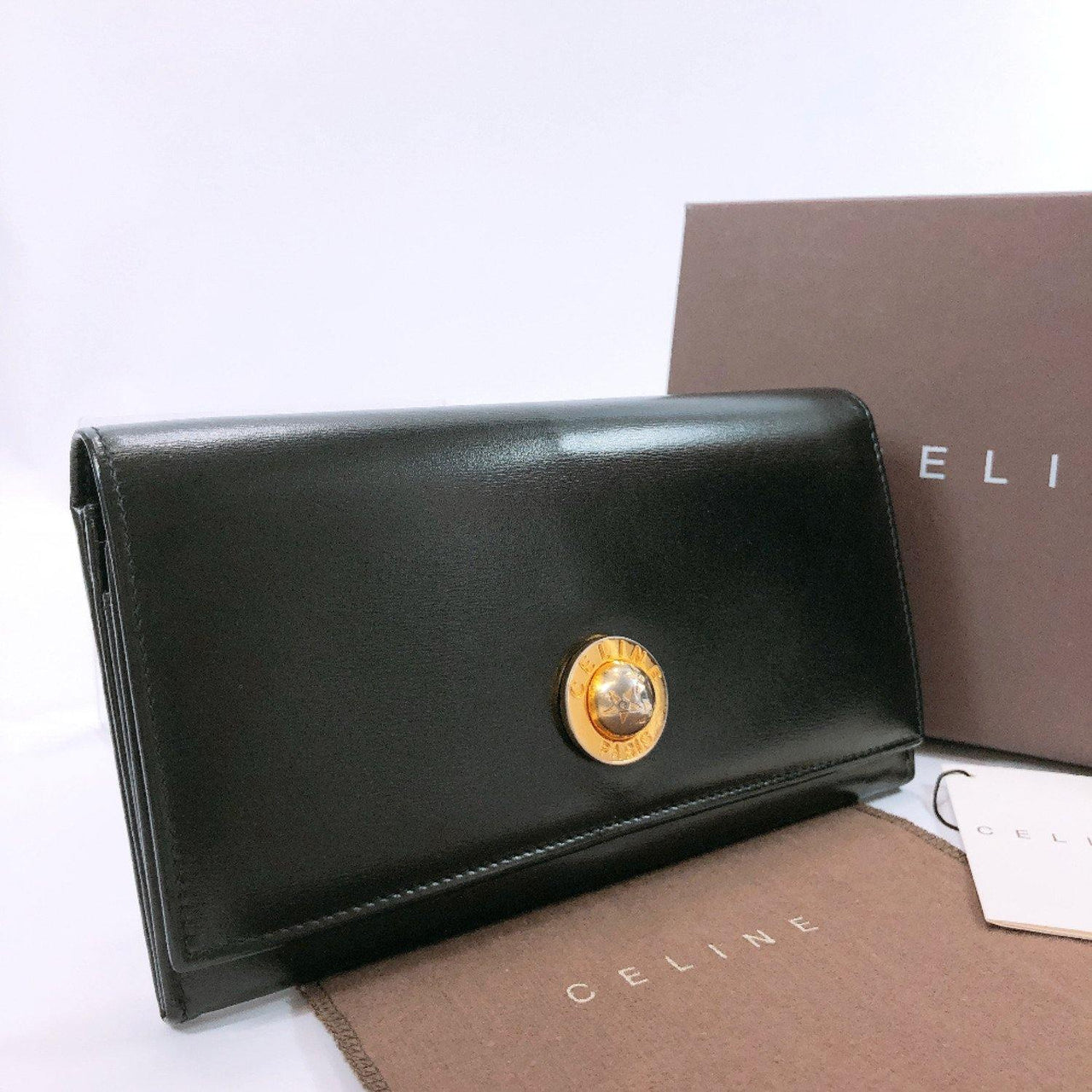 CELINE purse vintage purse with a clasp leather black Women Used