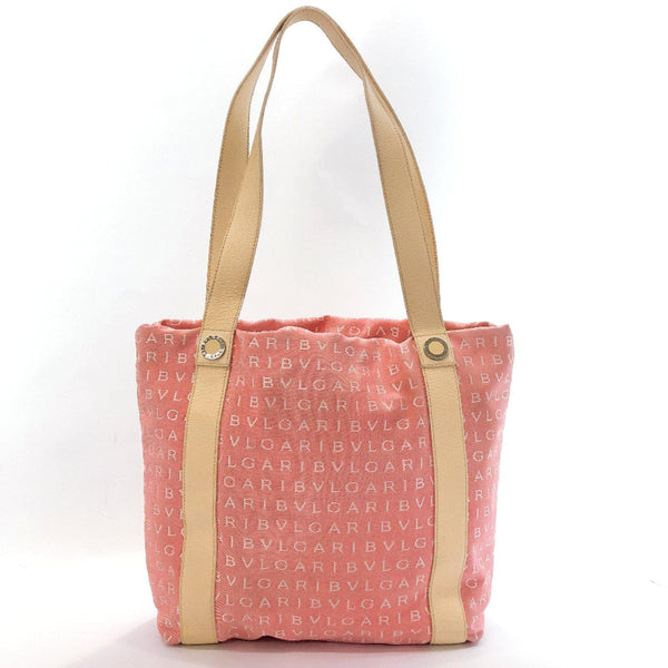 BVLGARI Tote Bag canvas/leather pink Women Used