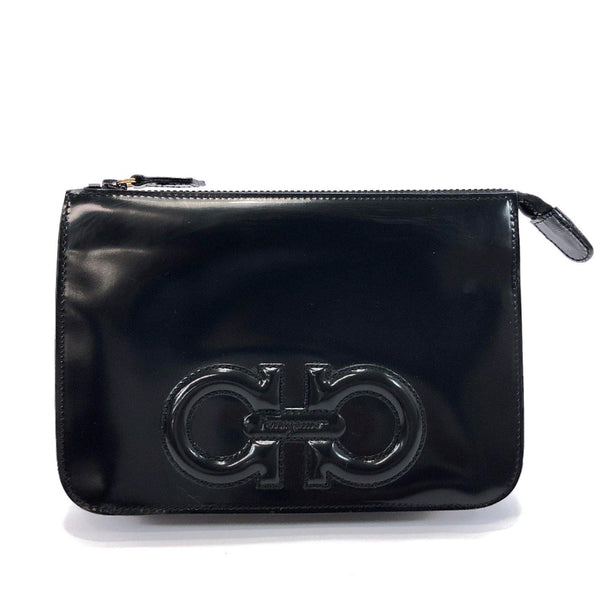 Salvatore Ferragamo Pouch HE227560 Gancini Patent leather black Women Used