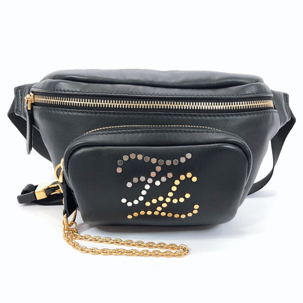 FENDI Waist bag 7VA446 A8VD F15ZW bam bag FF curl studs leather black mens Used