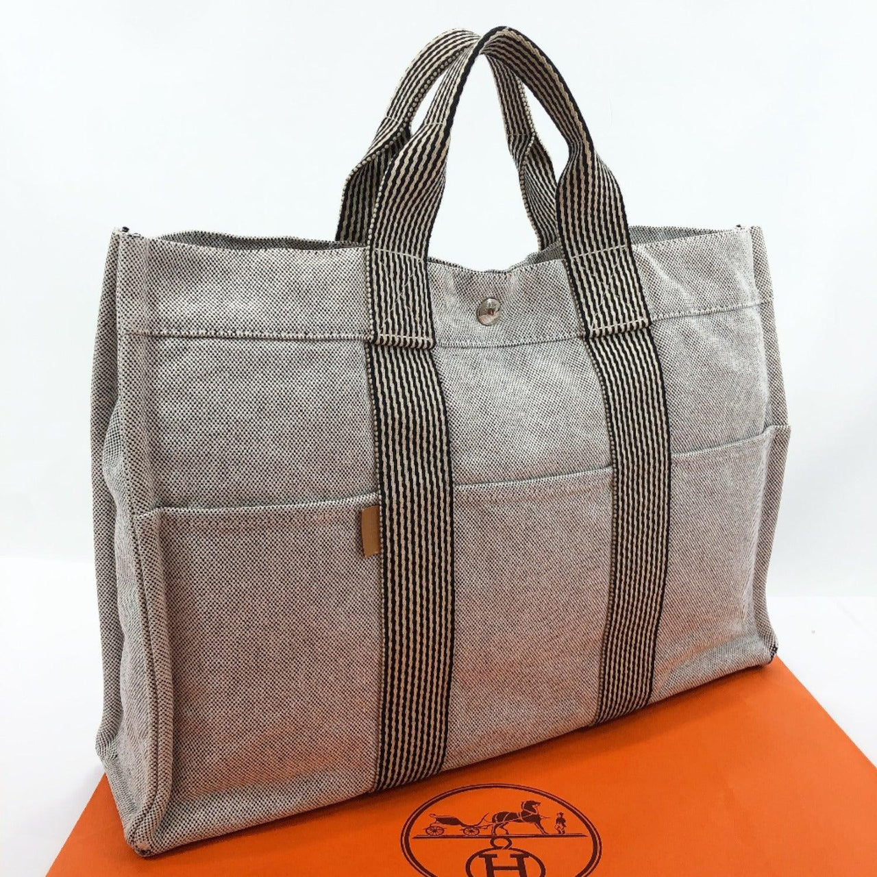 HERMES Tote Bag fool toeMM Tower ash gray unisex Used