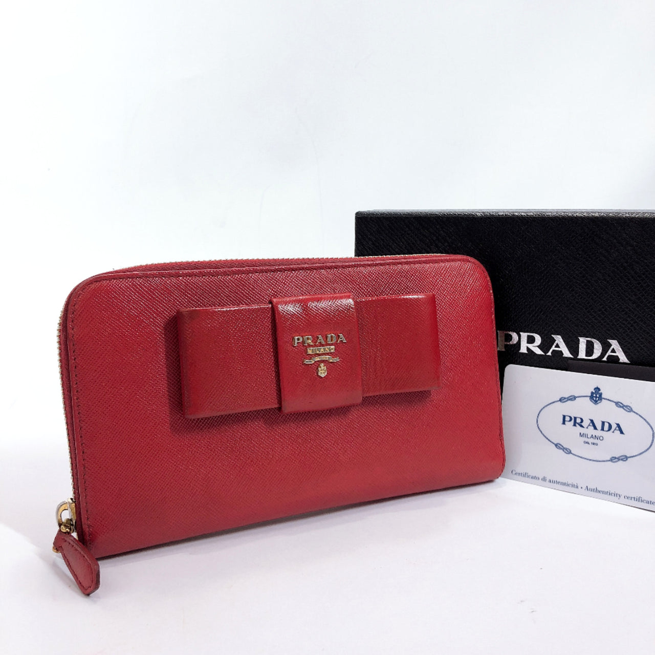PRADA purse 1M0506 Round zip Safiano leather Red Women Used