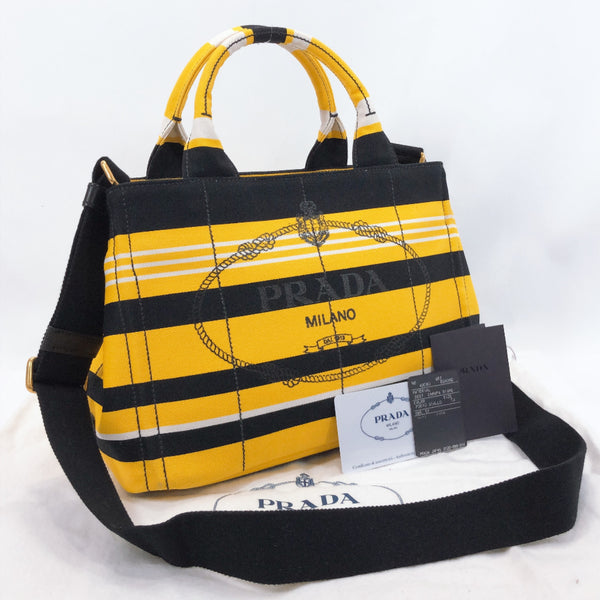 PRADA Tote Bag B2439B Canapa mini canvas yellow Women Used