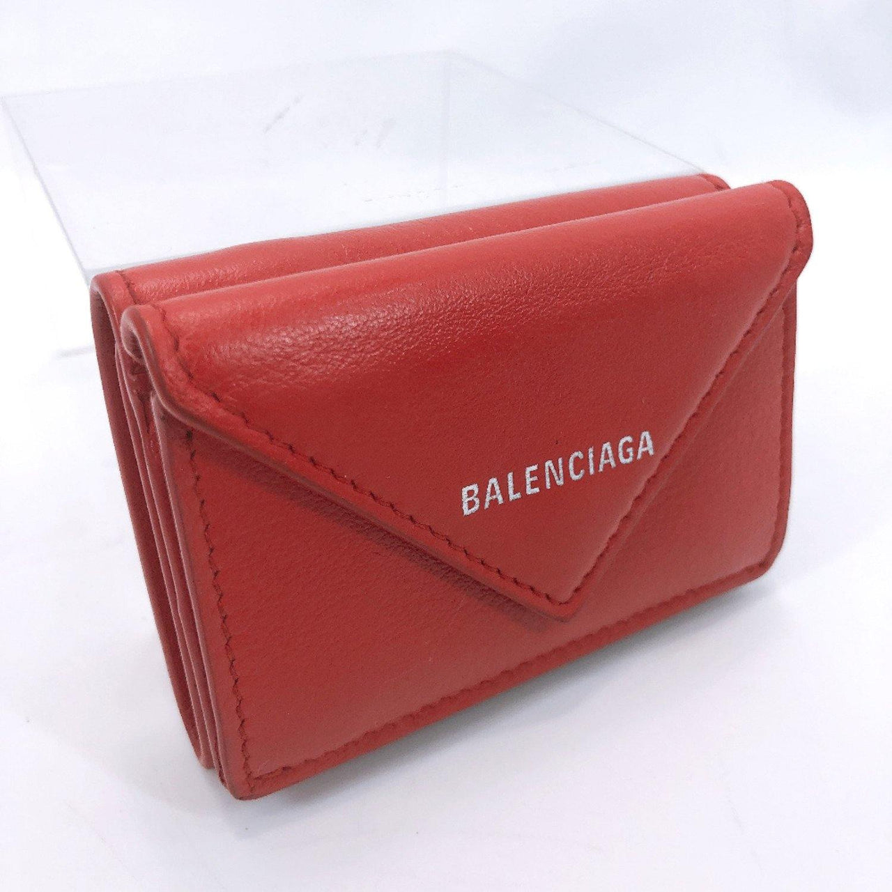 BALENCIAGA Tri-fold wallet 391446 Paper mini wallet leather Red Women Used - JP-BRANDS.com