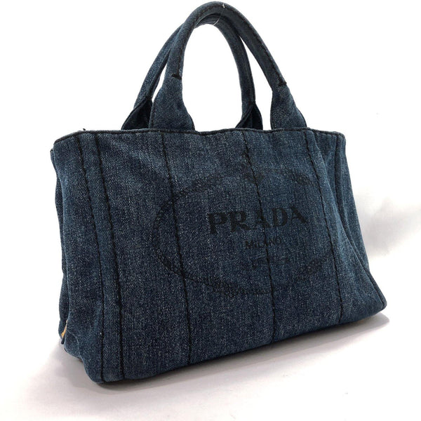 PRADA Tote Bag Canapa mini denim Denim blue Women Used