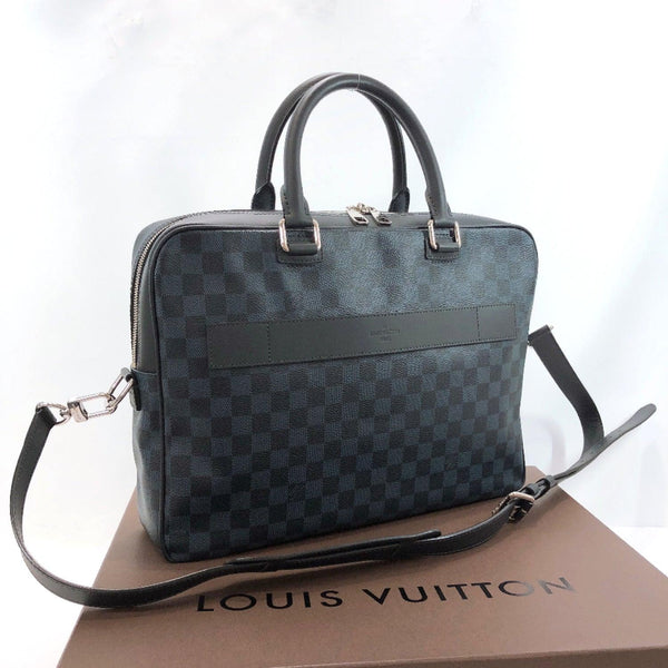 LOUIS VUITTON Business bag N41347 Port Documan/Damier Cobalt black Navy mens Used