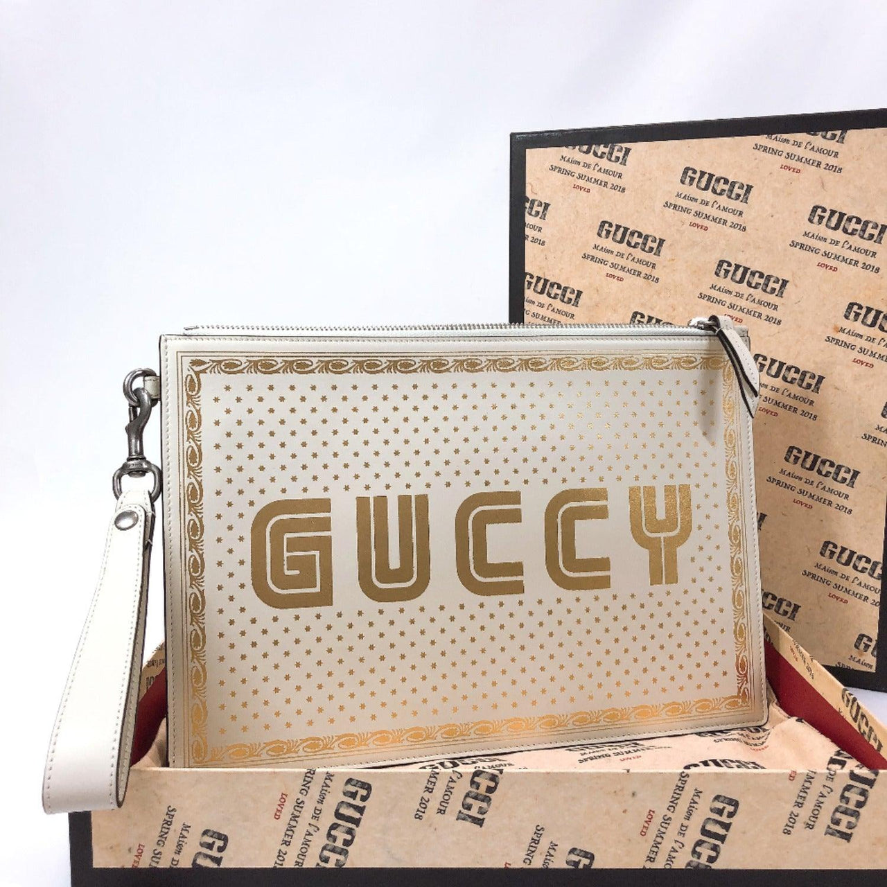 GUCCI Clutch bag 510489 SEGA GUCCY leather white gold unisex New