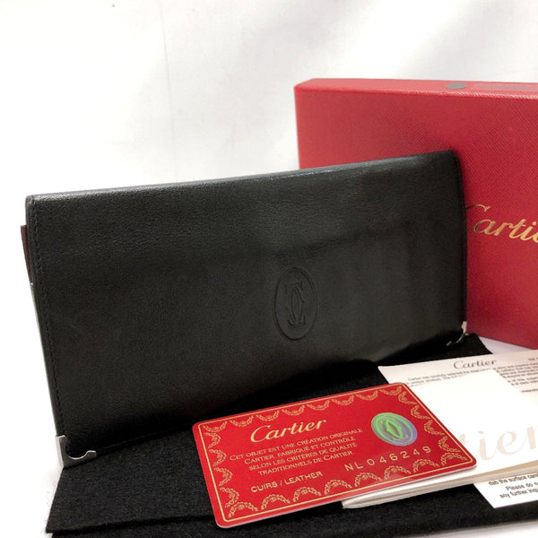 CARTIER Bill Compartment leather/SilverHardware black wine-red mens Used