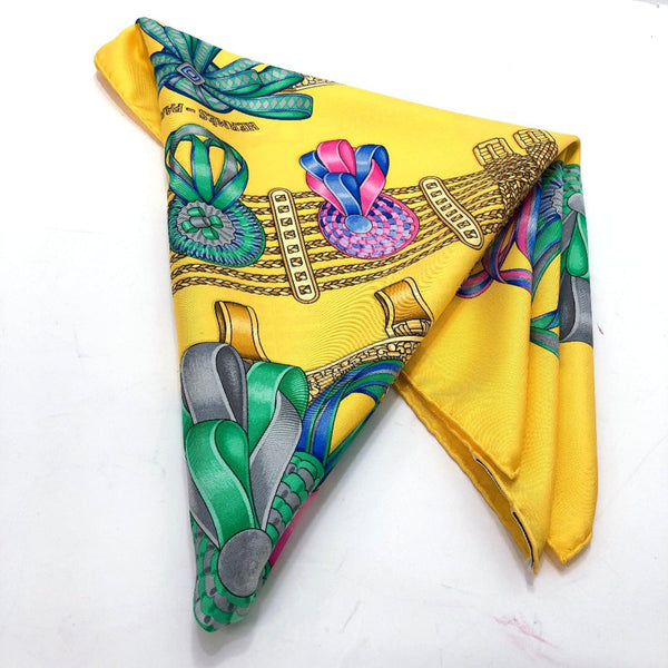 HERMES scarf Carre 90 silk yellow Women Used