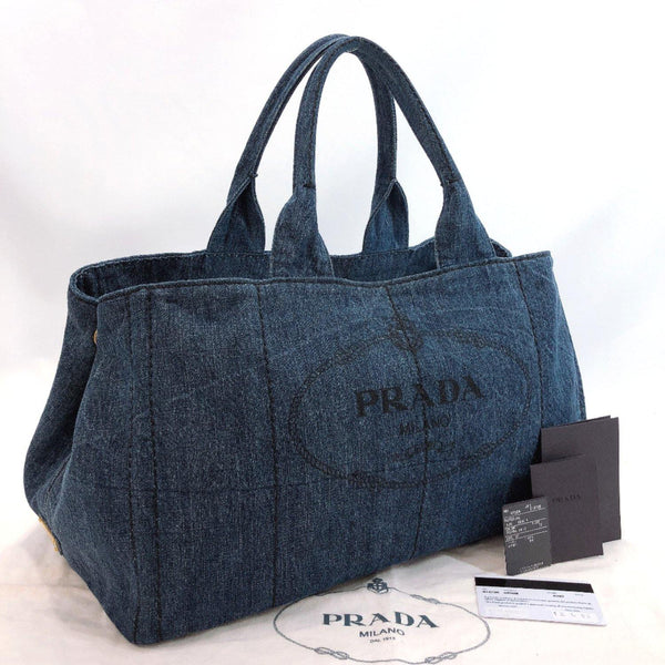 PRADA Tote Bag B1872B Canapa GM denim Navy Women Used