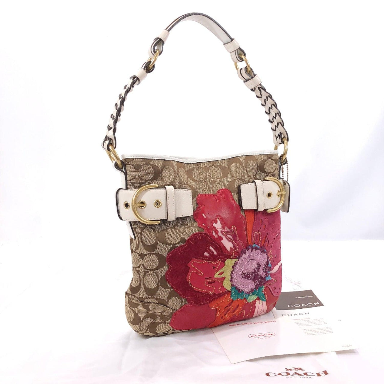 COACH Shoulder Bag 6123 Signature Floral canvas/leather Brown Red Women Used