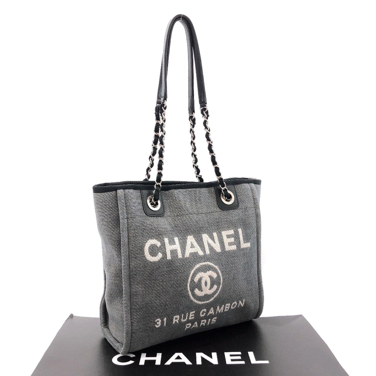 CHANEL Tote Bag Deauville PM canvas/leather gray black Women Used - JP-BRANDS.com