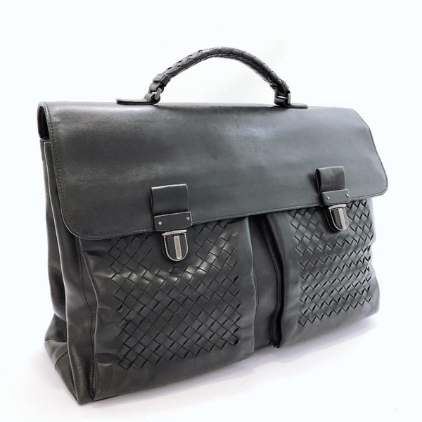 BOTTEGAVENETA Business bag Intrecciato Briefcase leather black mens Used