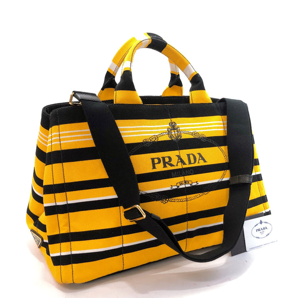 PRADA Tote Bag B1872G Canapa GM Stripe pattern 2way canvas yellow black Women Used