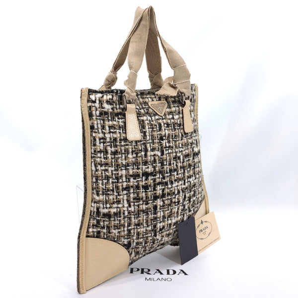 PRADA Tote Bag B11268 tweed beige black Women Used