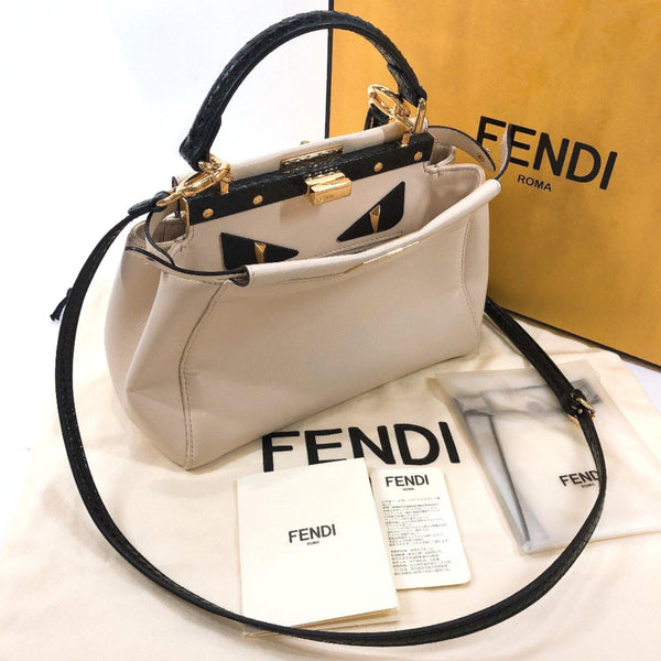 FENDI Handbag 8BN244 Peek-a-boo mini monster leather beige Women Used