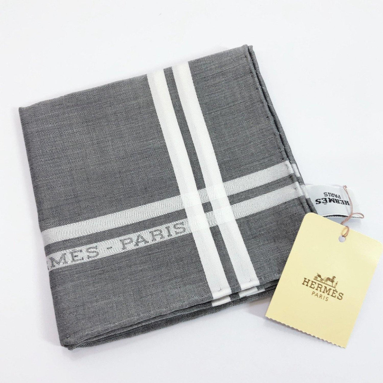 HERMES handkerchief Pocket chief cotton gray unisex New - JP-BRANDS.com