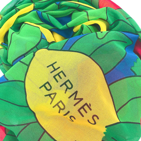 HERMES Stall Pareo Lemon pattern cotton green Red Women Used - JP-BRANDS.com
