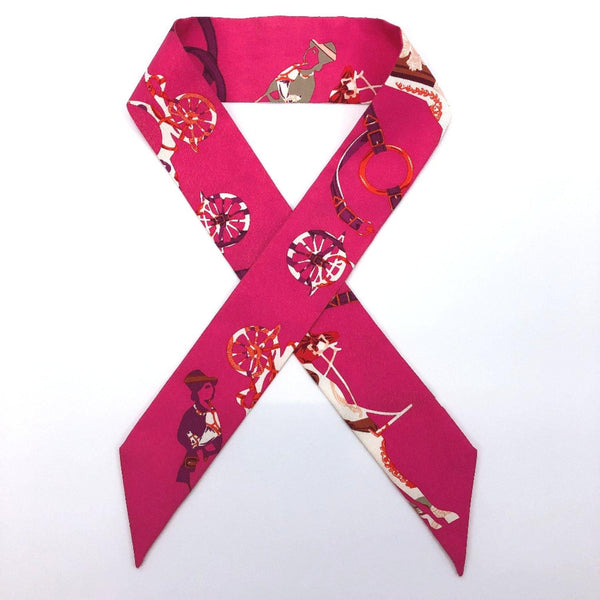 HERMES scarf Twilly silk pink Women Used - JP-BRANDS.com