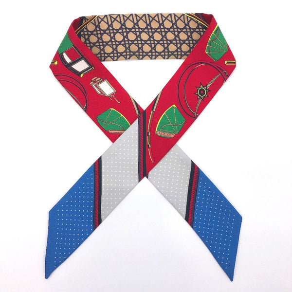 HERMES scarf Twilly silk Red blue Women Used - JP-BRANDS.com