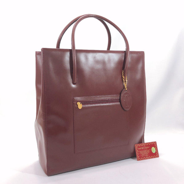 CARTIER Tote Bag G23 Must Line Vintage leather wine-red mens Used