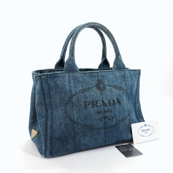 PRADA Tote Bag 1BG439 Canapa mini denim blue Women Used