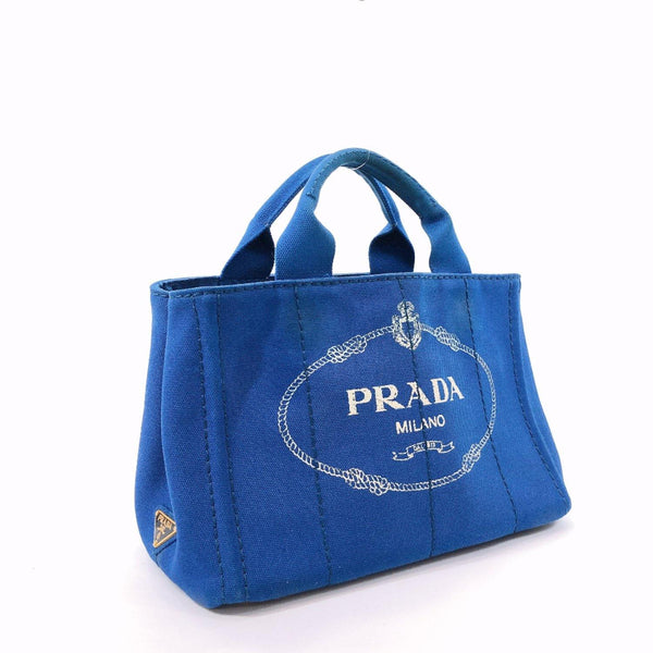 PRADA Tote Bag Canapa mini canvas blue Women Used