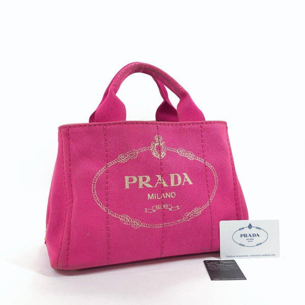 PRADA Tote Bag BN2439 Canapa mini canvas pink Women Used