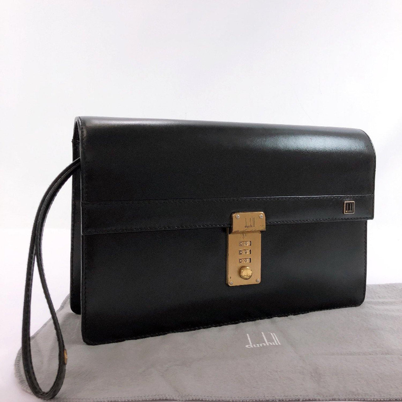 Dunhill business bag Number lock leather black mens Used