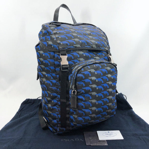 PRADA Backpack Daypack V135M  Pistol pattern Nylon blue mens Used