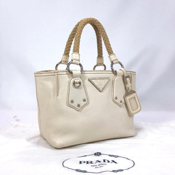PRADA Handbag leather off white Women Used