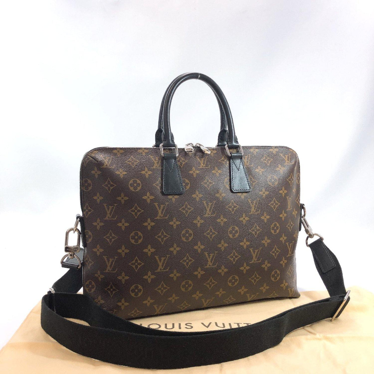 LOUIS VUITTON Business bag M40868 PDJ Monogram macacer Brown black mens Used