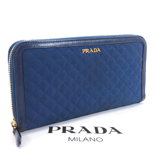 PRADA purse Round zip canvas/leather blue Women Used