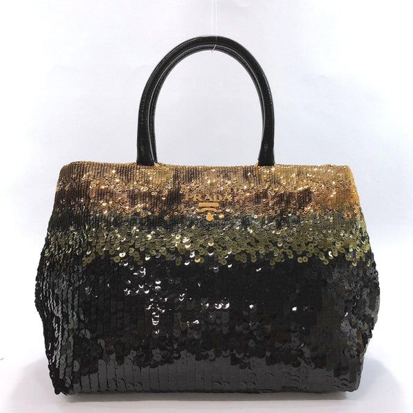 PRADA Tote Bag BN1751 Sequin black Women Used