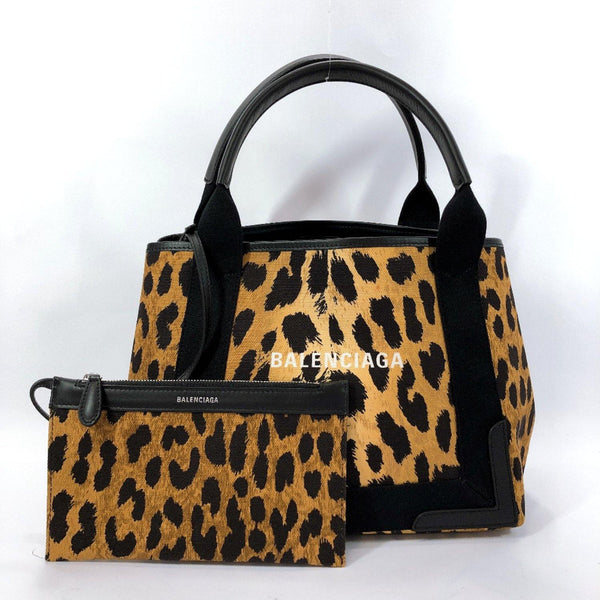 BALENCIAGA Handbag 339933 Navy kabas S Leopard canvas/leather Brown black Women Used
