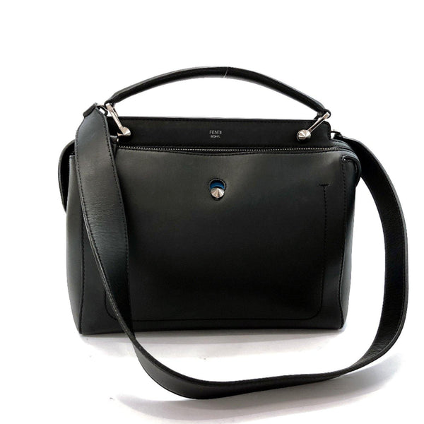 FENDI Shoulder Bag 8BN293-5QL-168-8241 Dot com 2WAY leather black blue Women Used